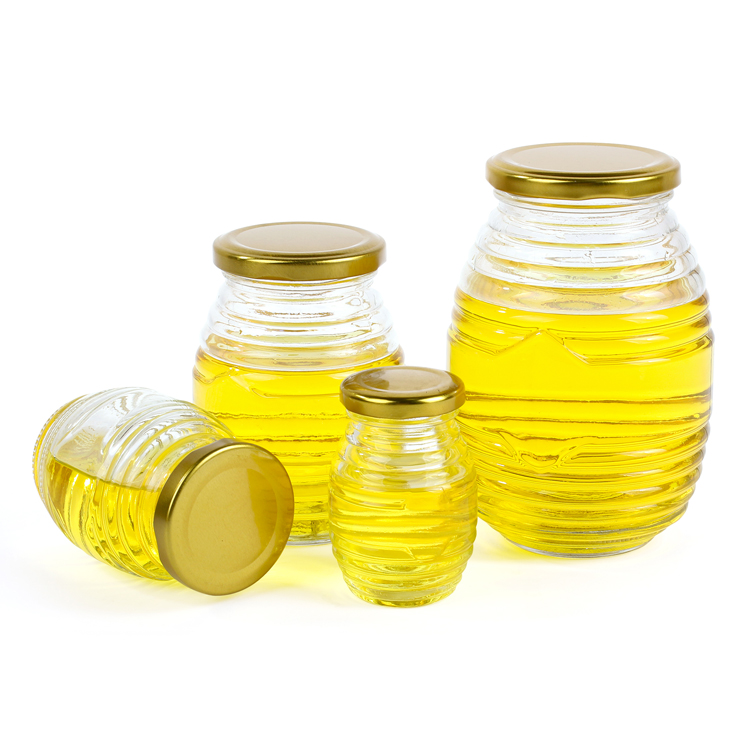 glass honey jar with metal lid